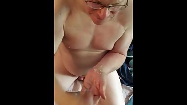 Grandpa plays with friend's cock until he cums