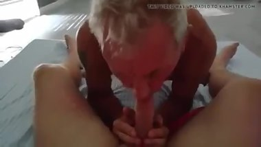Lovely grandpa loves worshiping cock