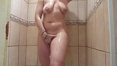 Busty juicy milf washes and masturbates in the shower