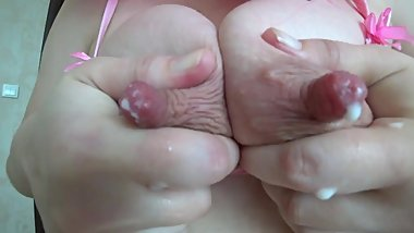 Breast milk from milk boobs with big nipples. Pregnant milf masturbates during lactation.